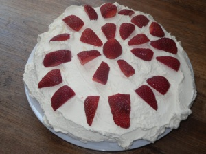 Last year's pavlova smothered in cream and loads of sugar inside.